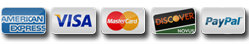 Payments methods we accept: American Express, Visa, Mastercard, Discover, and Paypal